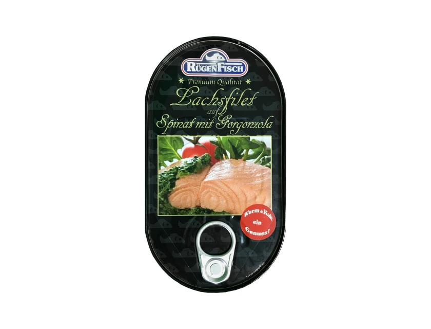 Lachsfilet auf Spinat mit Gorgonzola 200g